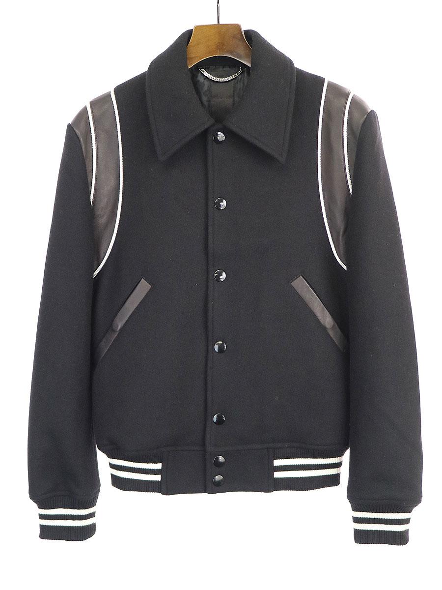 【中古】GalaabenD ガラアーベント 16AW New England Lamb Melton Jacket レザー切替メルトンジャケット ブラック S メンズ