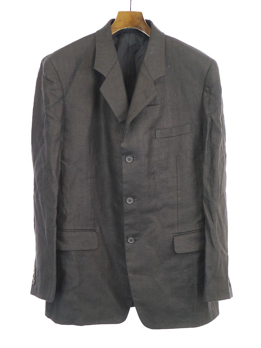 【中古】Yohji Yamamoto POUR HOMME ヨウジヤマモト プール オム 20SS リネンセットアップスーツ ブラック 3 メンズ
