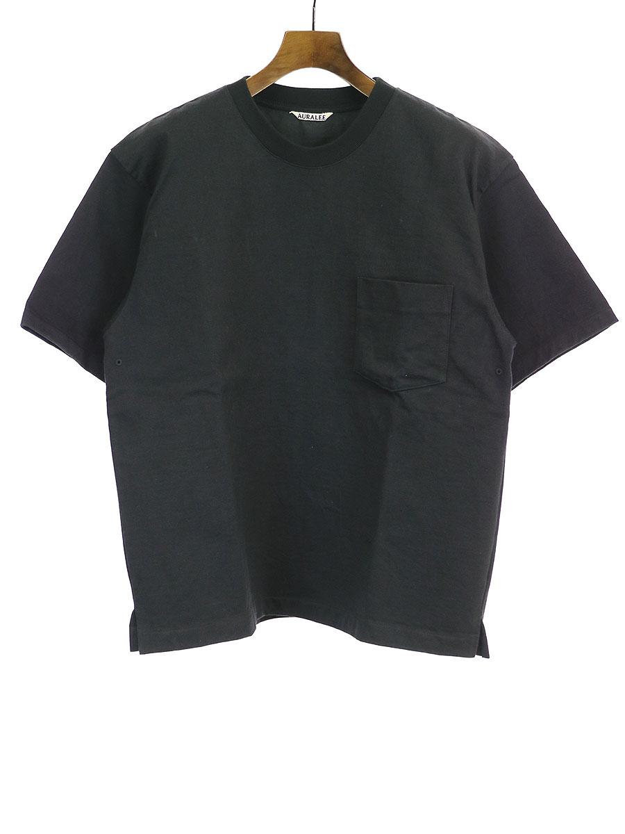 【中古】AURALEE オーラリー STAND UP TEE スタンドアップTシャツ ブラック 3 メンズ