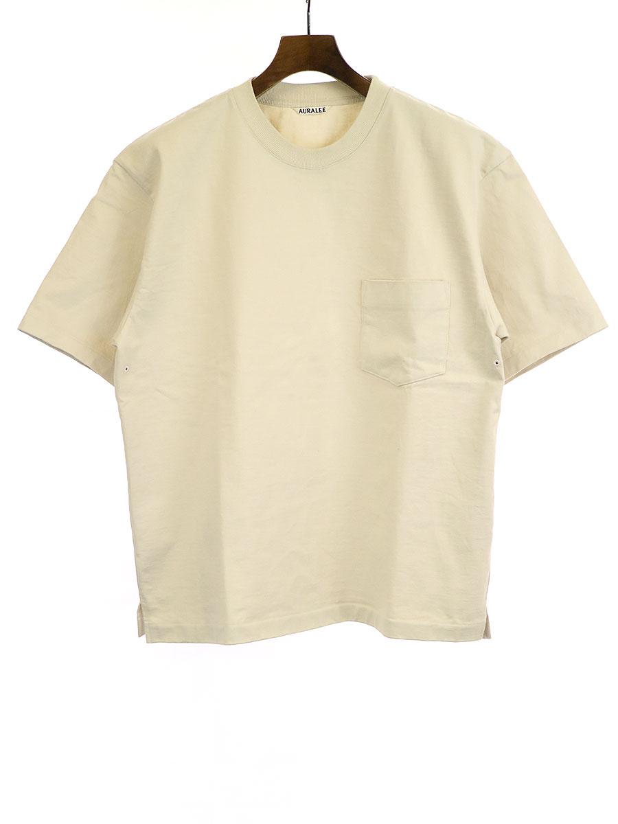 【中古】AURALEE オーラリー STAND UP TEE スタンドアップTシャツ アイボリー 4 メンズ