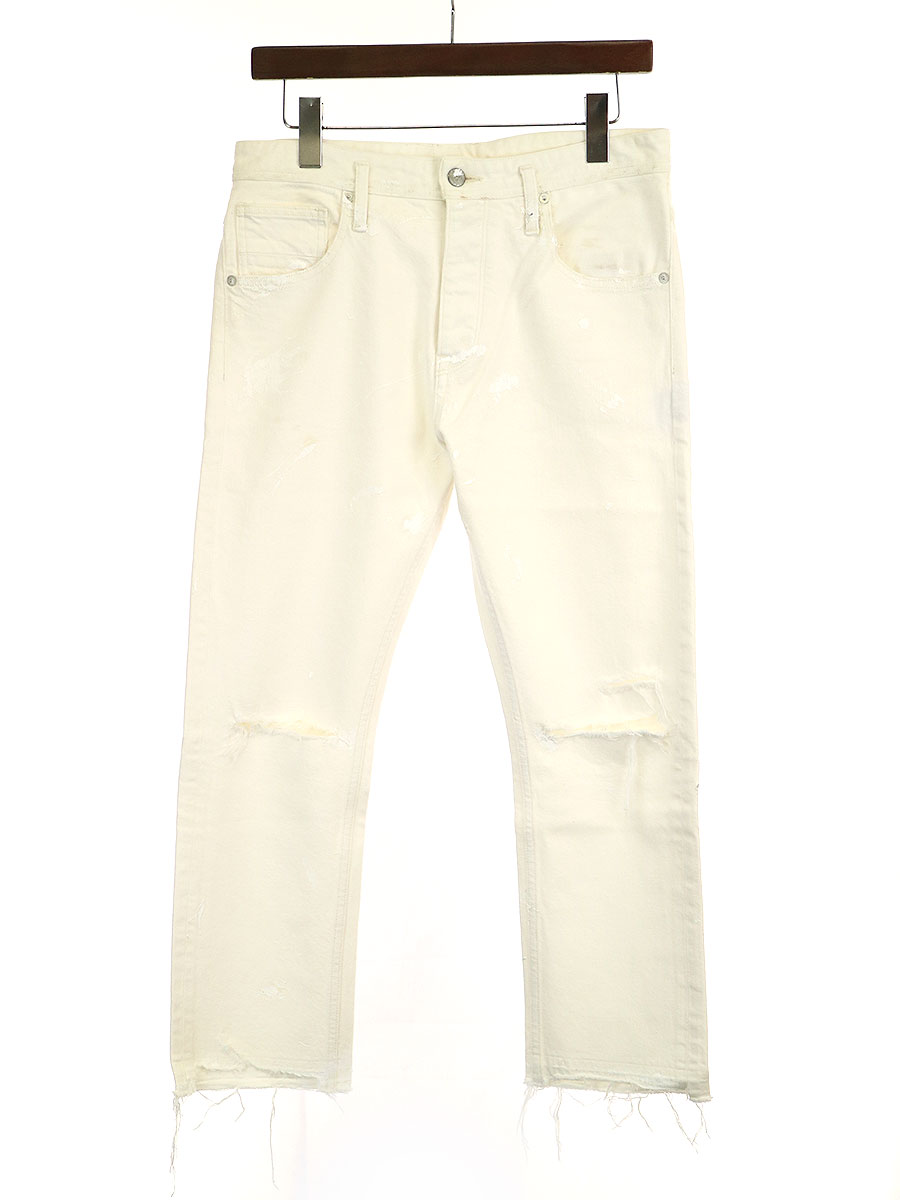 中古 完全送料無料 ACANTHUS アカンサス ペイント加工クラッシュデニムパンツ プレゼント メンズ M ホワイト