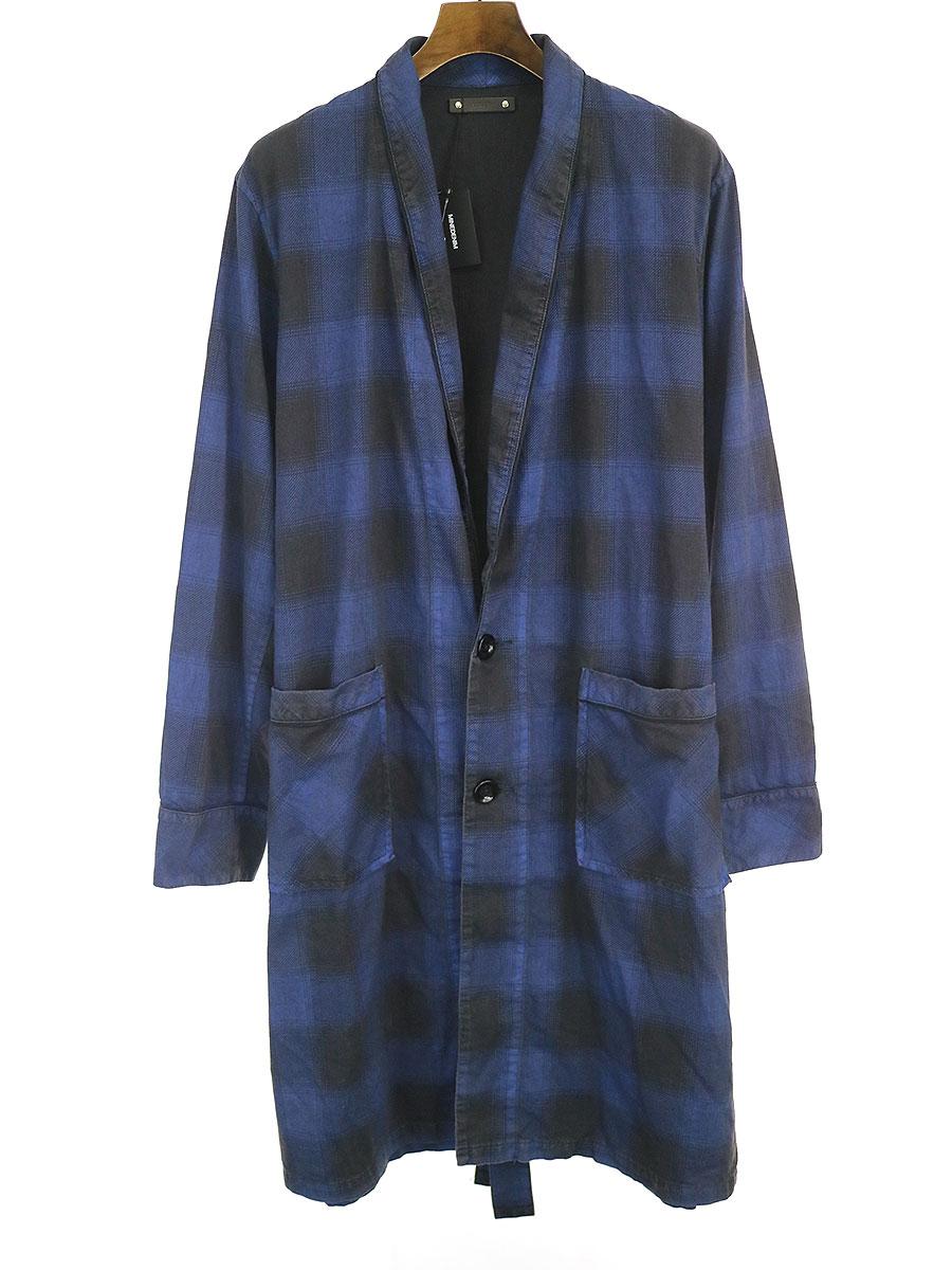 中古 情熱セール MINEDENIM マインデニム 新商品 20SS Black Denim ブルー Check Gawn 2 メンズ チェックガウンコート