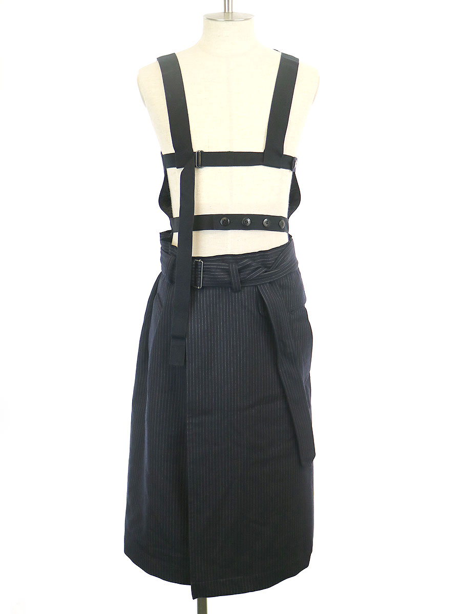 トラスト 中古 DRIES VAN NOTEN ドリスヴァンノッテン ブラック 大放出セール 16AW S ストライプ柄ベストドッキングスカート メンズ