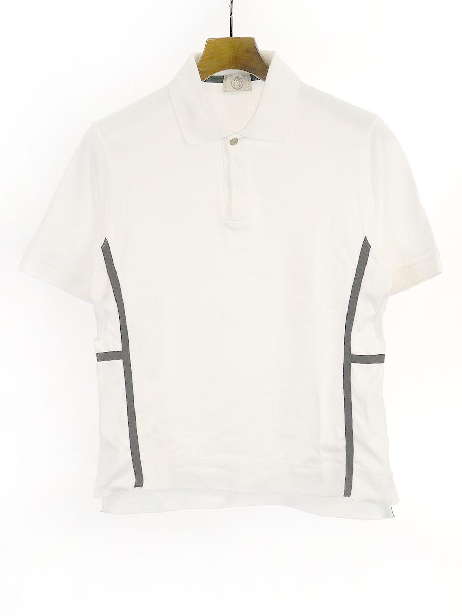 中古 HERMES エルメス 買い物 sellierボタンラインポロシャツ メンズ L ホワイト 公式ショップ