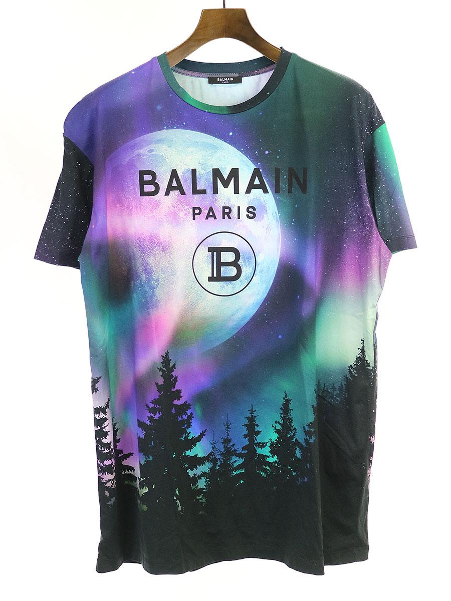 2020年激安 【】BALMAIN HOMME バルマン オム スペース柄ロゴプリントTシャツ マルチカラー XS メンズ, 宮前区 1a53ef2b