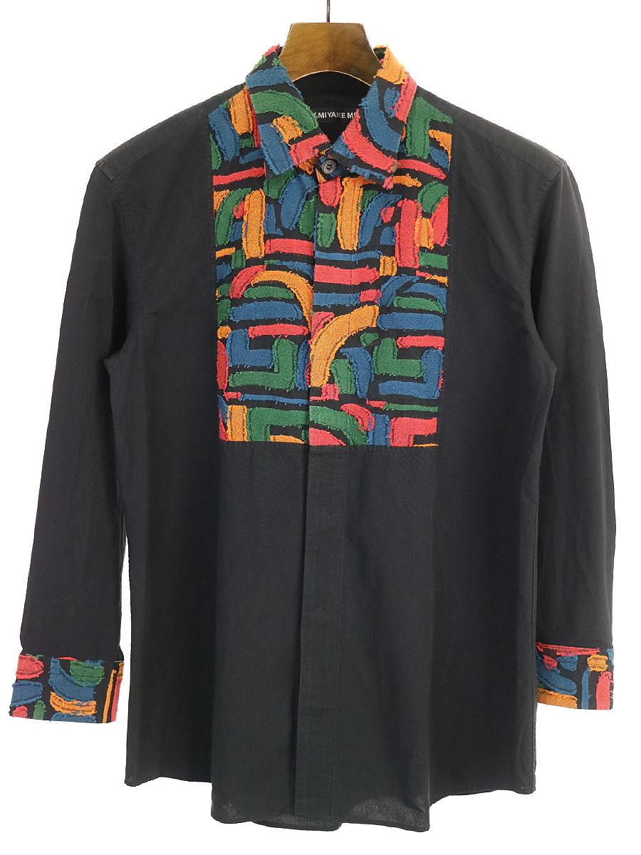 中古 セール商品 ISSEY MIYAKE 低価格 MEN イッセイ ミヤケ メン 1 メンズ 16AW パネル切替ポリエステルコットンシャツ ブラック
