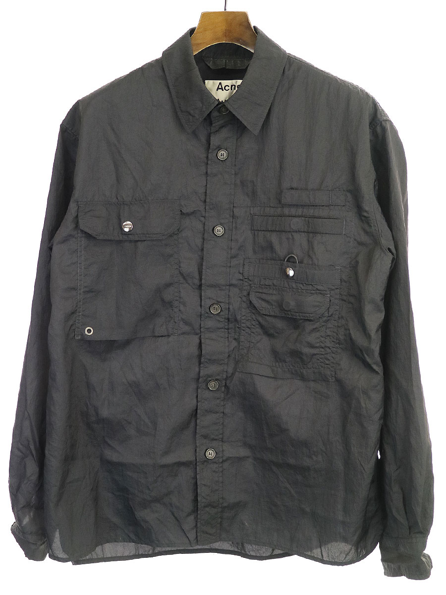 中古 定番 Acne Studios 感謝価格 アクネストゥディオズ 20SS メンズ ナイロンオーバーサイズシャツジャケット ブラック 46