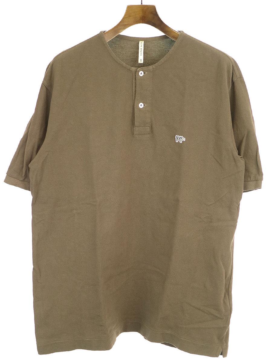 中古 売れ筋 SCYE BASICS サイ ベーシック ロゴワッペンノーカラーポロシャツ メンズ AL完売しました ブラウン 40