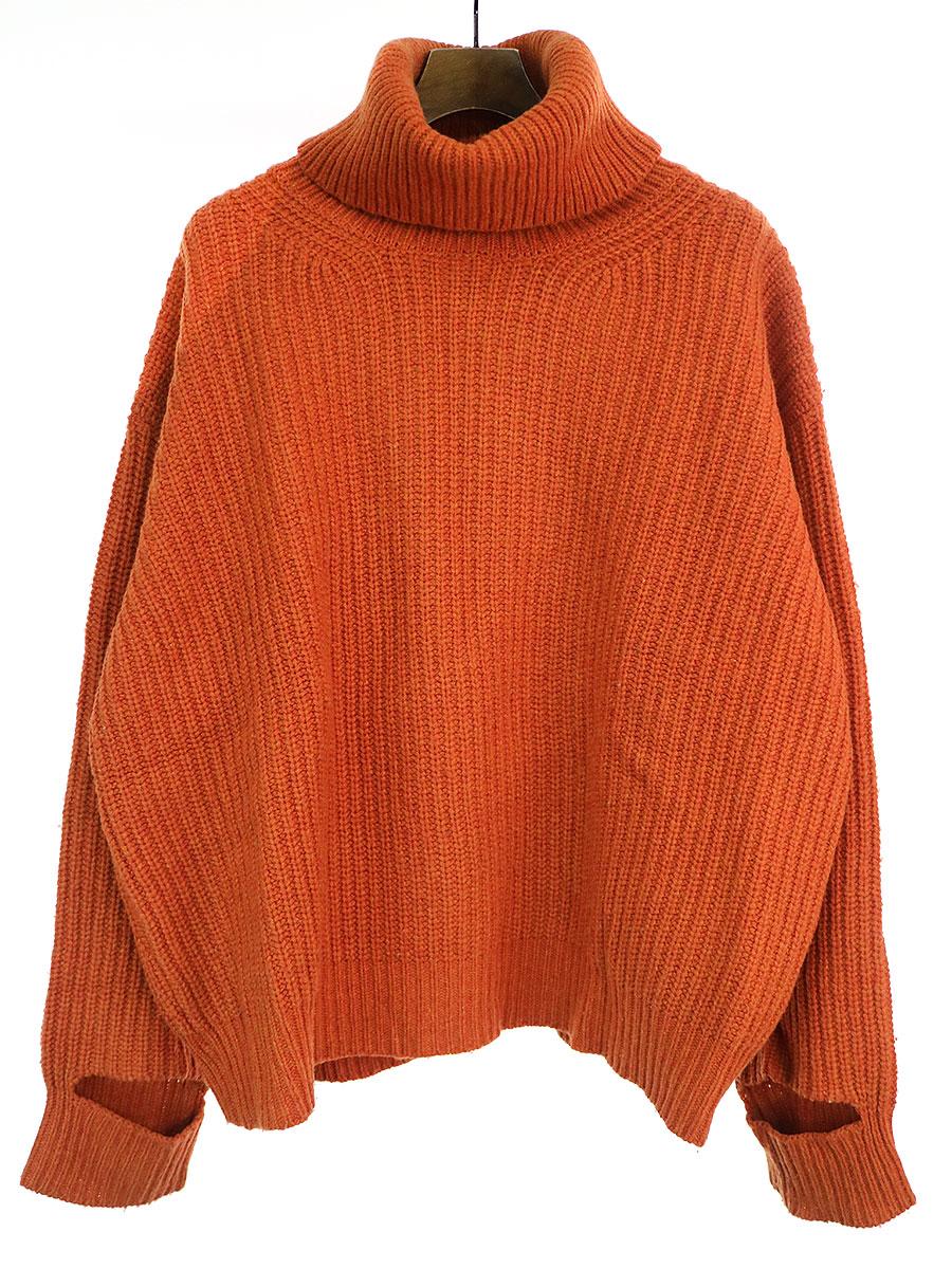 Seasonal Wrap入荷 中古 UNUSED アンユーズド 17AW 3G 最新 turtleneck タートルネックニットセーター オレンジ knit 3 メンズ