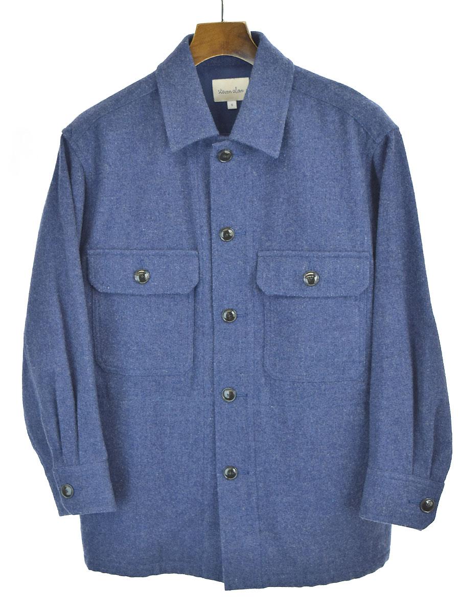 誕生日/お祝い 中古 steven alan スティーブンアラン MELTON CPO 流行 シャツジャケット メンズ S ネイビー OUTER