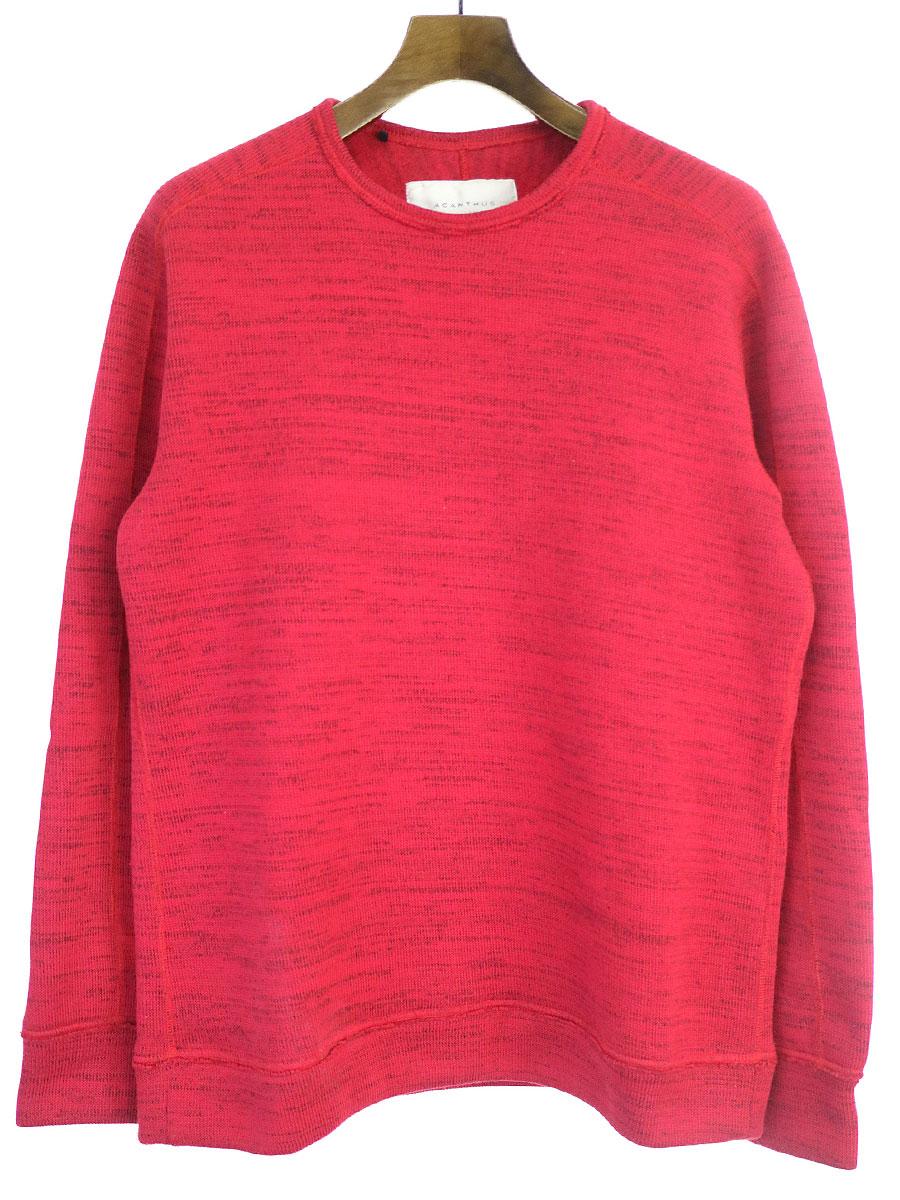 中古 ACANTHUS アカンサス 17AW sweater fleece ポリエステルニットセーター S レッド knit メンズ L Seasonal 受注生産品 Wrap入荷