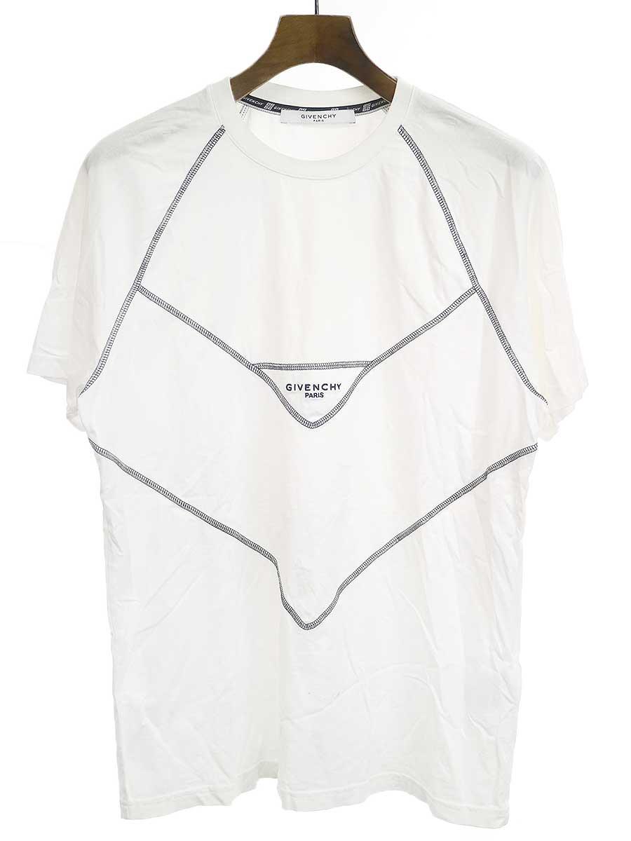 中古 2020秋冬新作 GIVENCHY ジバンシィ 19SS XS メンズ コントラスステッチTシャツ ホワイト 期間限定の激安セール
