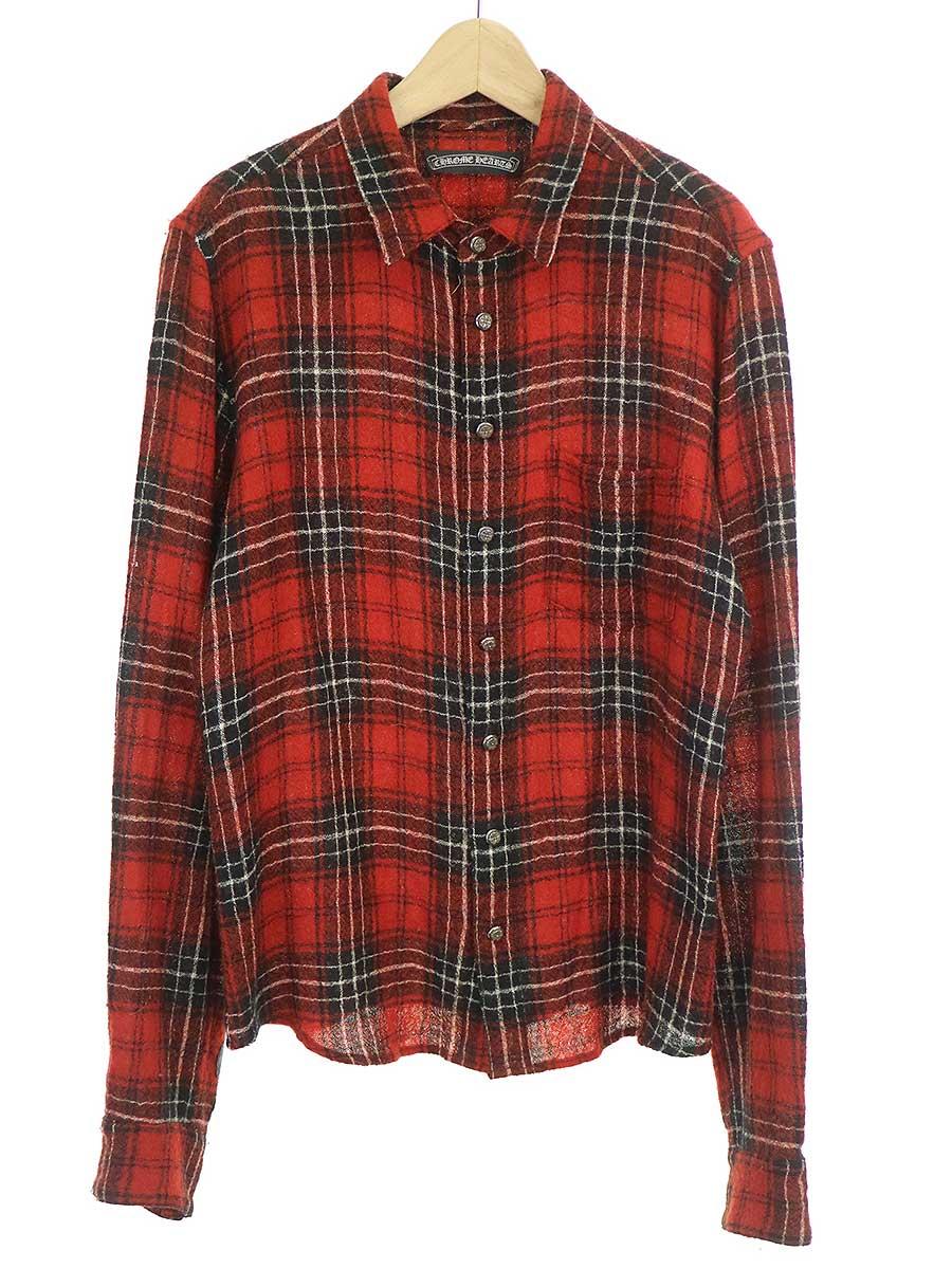 中古 CHROME HEARTS クロムハーツ M フローラルクロスボタンボイルドウールチェックシャツ 評判 メンズ レッド 全品最安値に挑戦