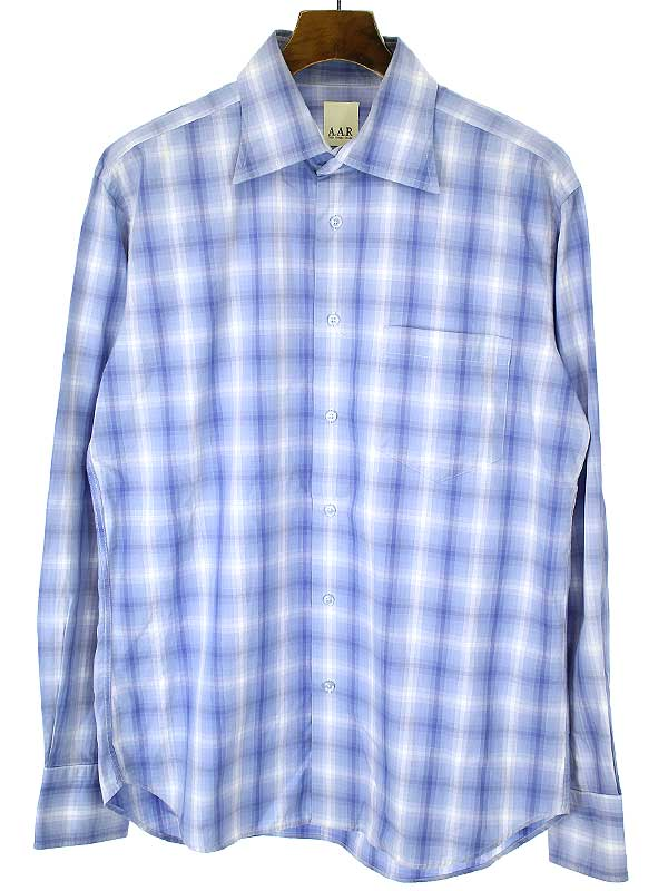 お値段見直しました 2021年7月3日値下げ品 中古 A.A.R アール 新品 本日の目玉 送料無料 L メンズ ブルー チェック柄コットンシャツ