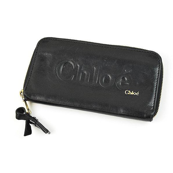 【中古】Chloe クロエ ラウンドジップレザーウォレット 長財布 ブラック