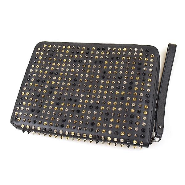 【中古】Christian Louboutin クリスチャンルブタン スパイクスタッズ装飾カーフレザー iPadケース ブラック
