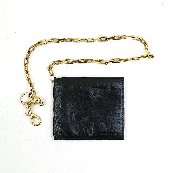 【中古】ALEXANDER McQUEEN アレキサンダーマックイーン チェーンレザーウォレット 二つ折り財布 ブラック その他服飾