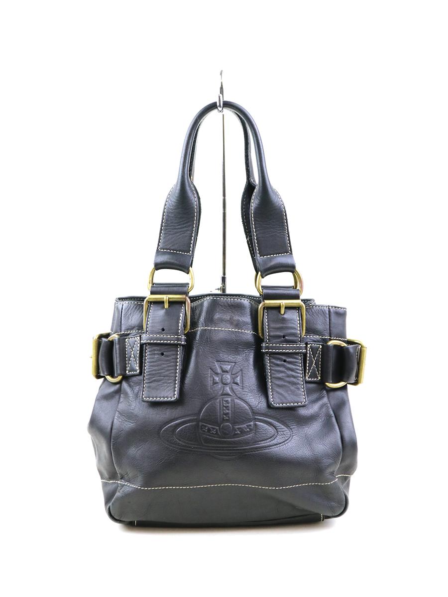 【中古】Vivienne Westwood ヴィヴィアンウエストウッド レザーオーブハンドバッグ ブラック その他服飾