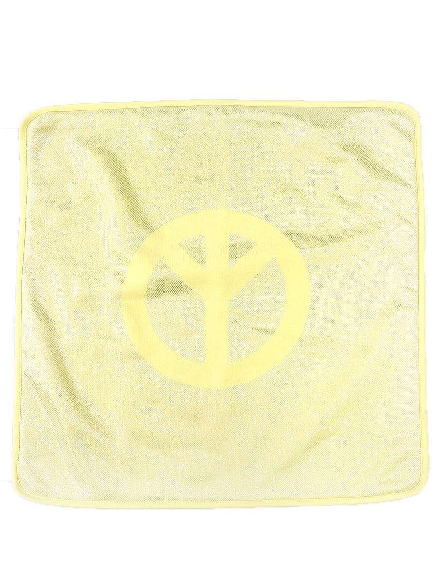 【中古】lucien pellat-finet ルシアンペラフィネ ピースマークコットンクッションカバー イエロー その他服飾