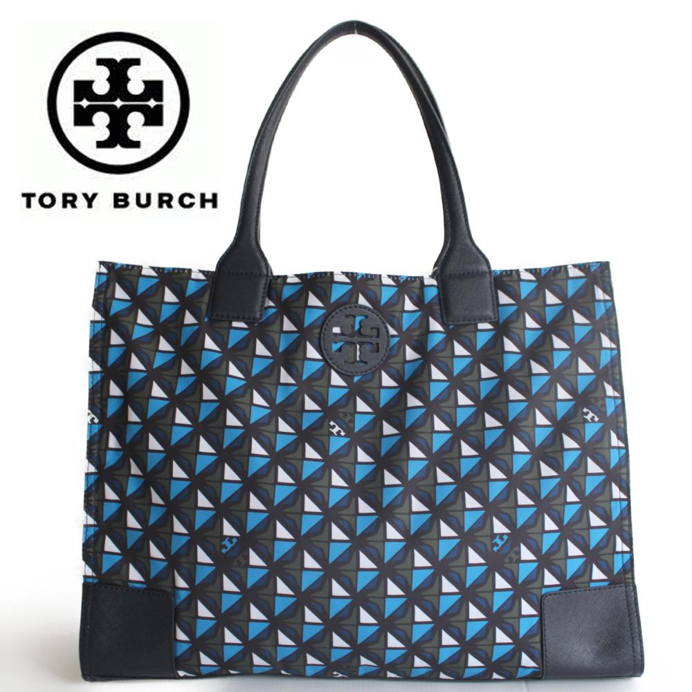 トリーバーチ バッグ 折り畳み ナイロン トートバック ブルー Tory Burch PRINTED ELLA PACKABLE TOTE