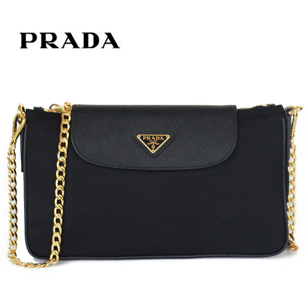 miglior servizio fa951 d3165 Prada bag nylon shoulder bag triangle logo plate mini-bag chain pochette  PRADA 1BH085 NERO