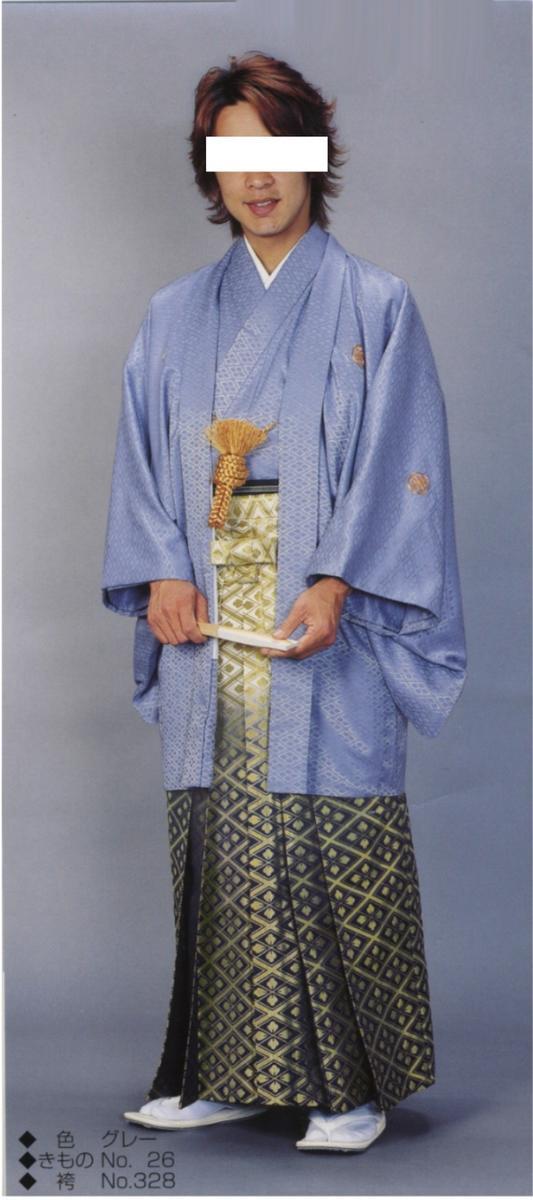 レンタル羽織袴フルセット成人式紋付袴(グレー)12月に発送予定!安心!