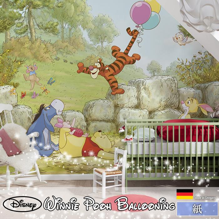 [72時間限定!5倍ポイント] ドイツ製インポート壁紙 【4-411】Winnie Pooh Ballooning《即納可》[輸入壁紙 デザイン おしゃれ 輸入 海外 外国 紙 壁紙 クロス のりあり DIY リフォーム ディズニー プー ティガー ピグレット イーヨ くまのプー 子供部屋 友安製作所]