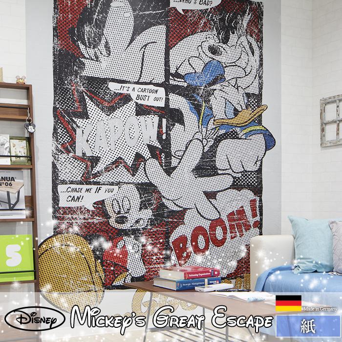 《即日出荷》 ドイツ製インポート壁紙 【4-421】Mickey's Great Escape[輸入壁紙 デザイン おしゃれ 輸入 海外 外国 紙 壁紙 クロス のりあり DIY リフォーム ディズニー ミッキー ドナルド ピート mickey 子供部屋 友安製作所]