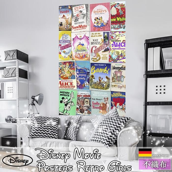 [72時間限定!5倍ポイント] ドイツ製インポート壁紙 【VD-040】Disney Movie Posters Retro Girls《即納可》[輸入壁紙 デザイン おしゃれ 輸入 海外 外国 不織布 壁紙 クロス のりなし DIY リフォーム ディズニー ミッキー ミニー アリス バンビ 子供部屋 友安製作所]
