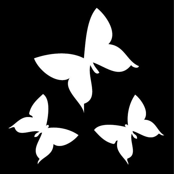 ランキング入賞 シルエットステッカー 往復送料無料 3匹の蝶 切文字 税込 シール