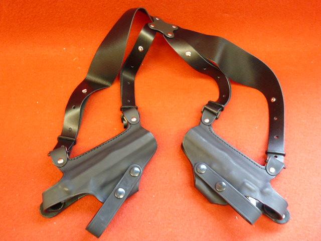牛革製ダブルショルダーホルスター(M92・ソードカトラス用) ワイドハーネスホリゾンタルシルエットショルダーホルスター