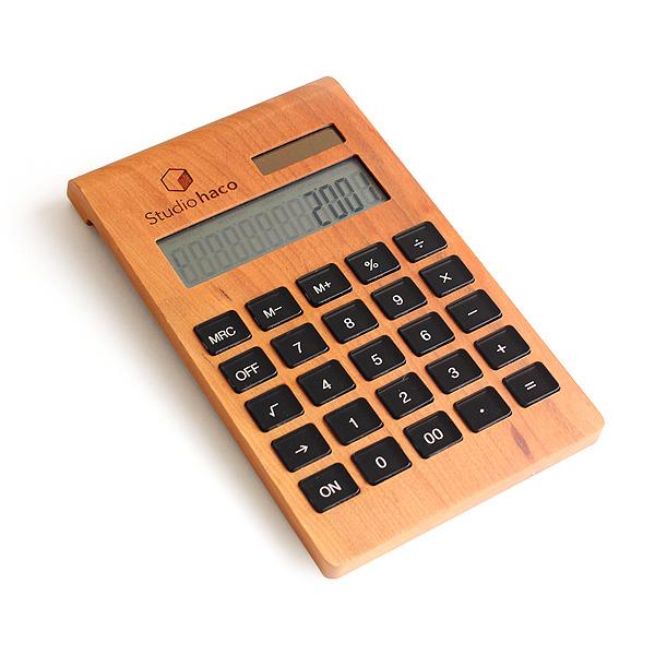 ■【ロゴ刻印代込】木製12桁ソーラー電卓「Solar Battery Calculator Desk Type」