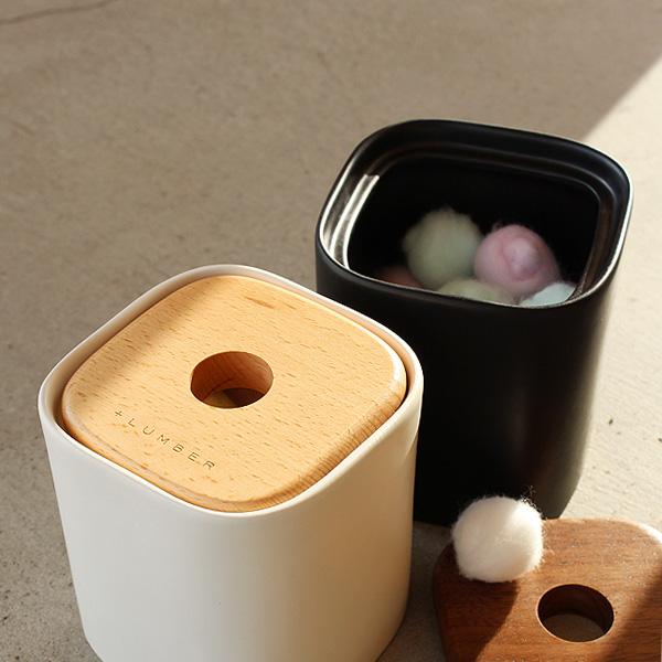 ネット限定 +LUMBERブランド ラッピング無料 木と陶器の質感を生かしたコットンボックス ■ +L COTTON BOX BALL 購入 コットンボックス
