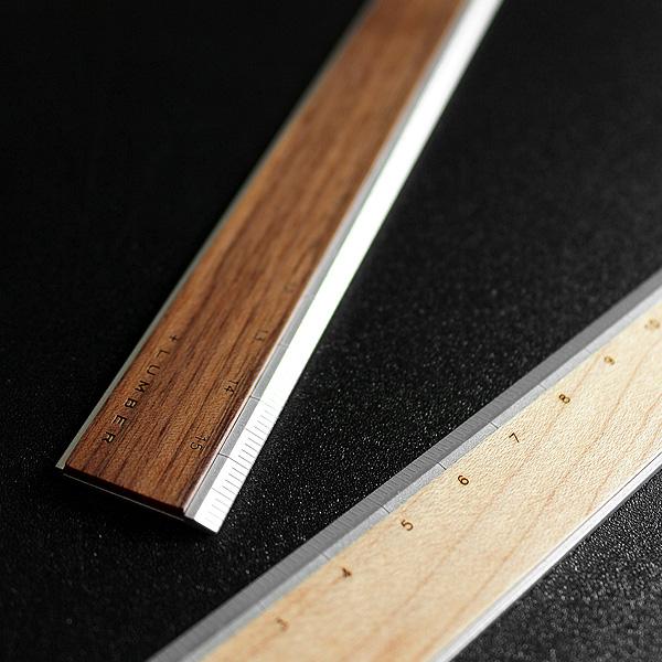 無機質なアルミに銘木をプラスした定規 ものさし ■ +L アルミ木製ものさし 即日出荷 定規 文房具 じょうぎ 送料無料/新品 モノサシ ウッド RULER