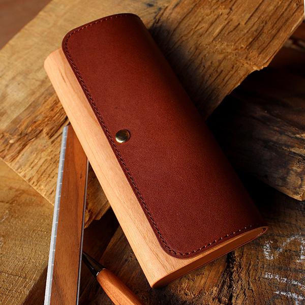 ■「Flap Pen Case」木と革のペンケース 筆箱 ペン入れ 文房具 メンズ レディース 木製 名入れ 名前入り かわいい おしゃれ Hacoaブランド