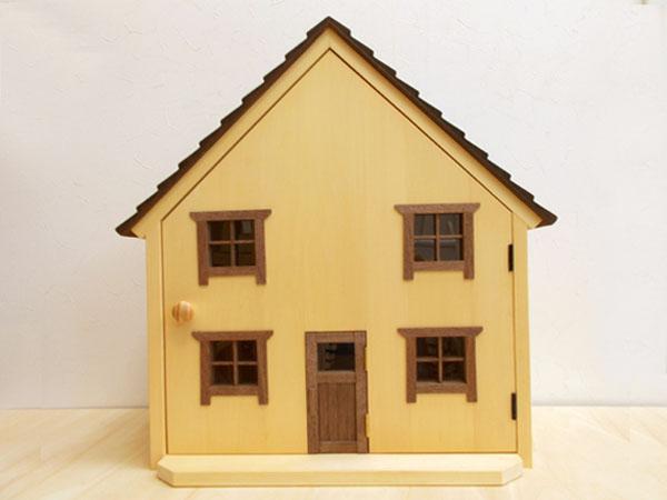 ドールハウス風 収納棚(大屋根・ナチュラル)日本製/1/12~1/16/木製/無塗装・完成品