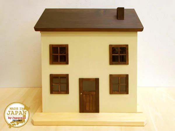ドールハウス風 収納棚(片引き・煙突屋根)日本製/1/12~1/16/木製/着色済・完成品