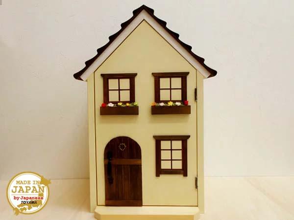 ドールハウス風 収納棚(小屋根・ガーデン)窓-絵/日本製/1/12~1/16/木製/着色済・完成品