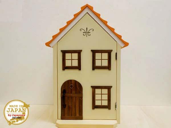 ドールハウス風 収納棚(小屋根・南欧風)/窓-絵/日本製/1/12~1/16/木製/着色済・完成品