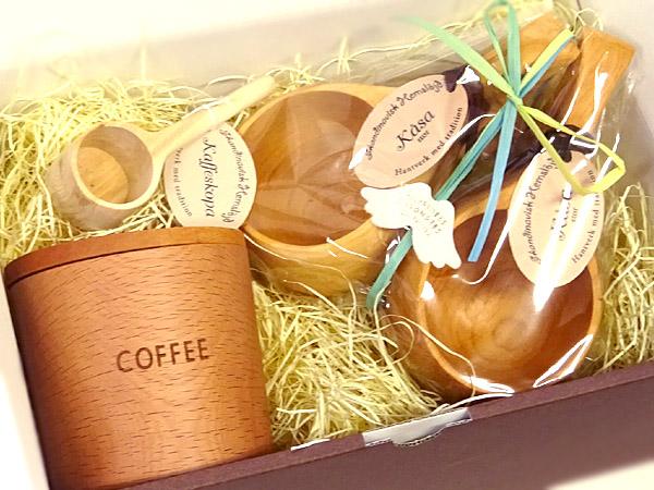 コーヒー好きセット-6(北欧コーヒーメジャー×1)(北欧ククサ×2 コーヒーキャニスター×1)北欧雑貨 木製 箱入り 無料ラッピング ペア/プレゼント 母の日