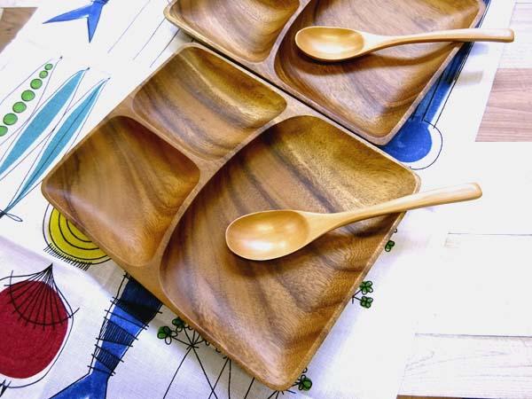 ゆっくりブランチを楽しんで♪ 結婚祝い ギフトセット-5(ランチプレート-木皿×2 スプーン×2)(北欧キッチンタオル×1)木製食器 アカシア 無料ラッピング ペア/誕生日 プレゼント ギフト箱入