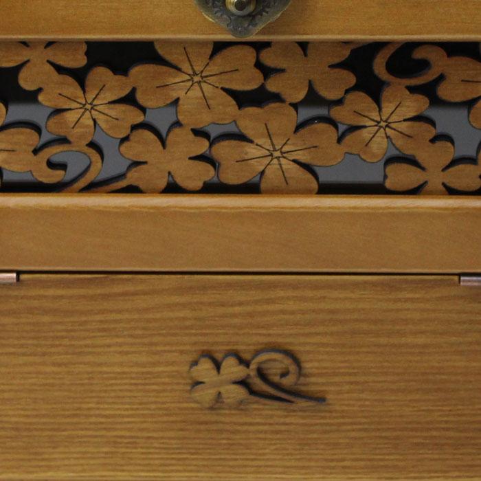 木製メイクボックス 幸せを呼ぶ四葉のクローバー コスメボックス クローバーの透かし彫り付 G-1236B【あす楽対応】