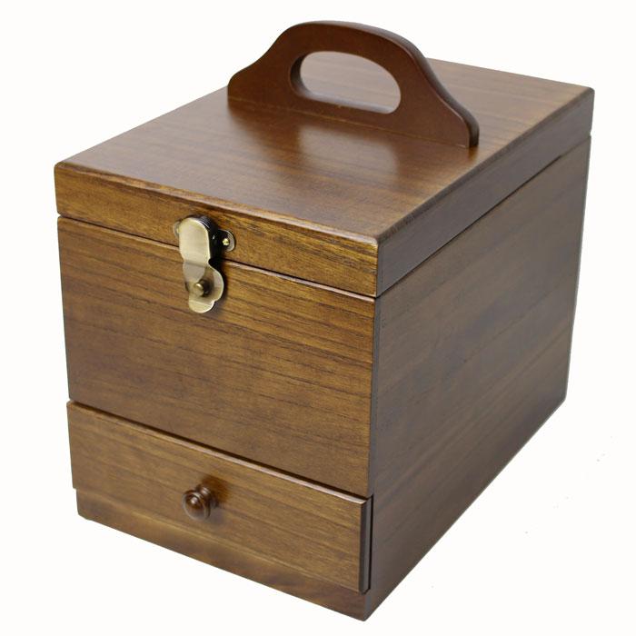 送料無料 木製コスメボックス メイクボックス 鏡付き 顔全体が映り易い縦長ミラー 017-513 ダークブラウン 日本製 茶谷【あす楽対応】