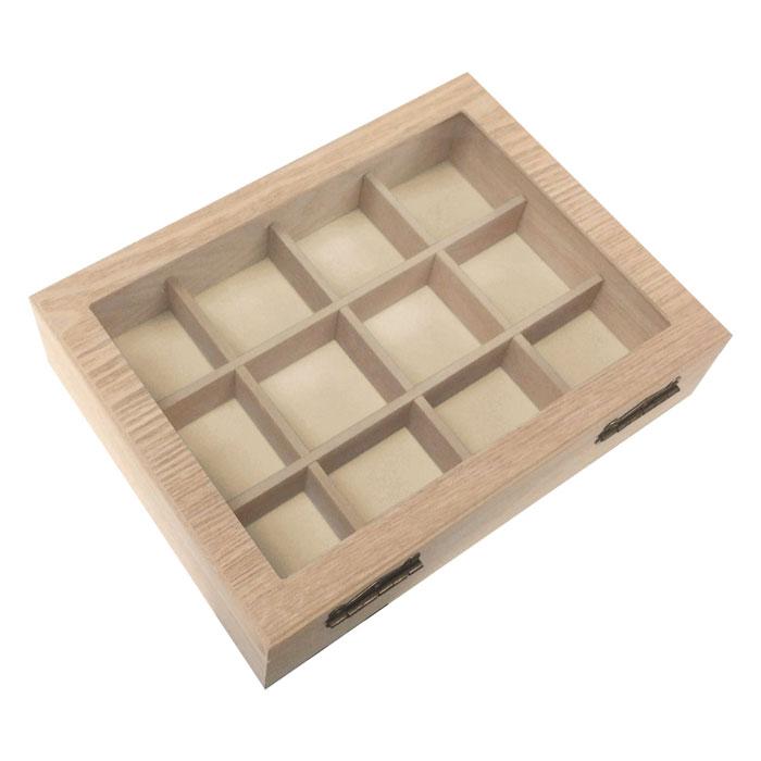 木製アクセサリーボックスジュエリーボックス押し花風ガラスG-1097Nナチュラル【あす楽対応】