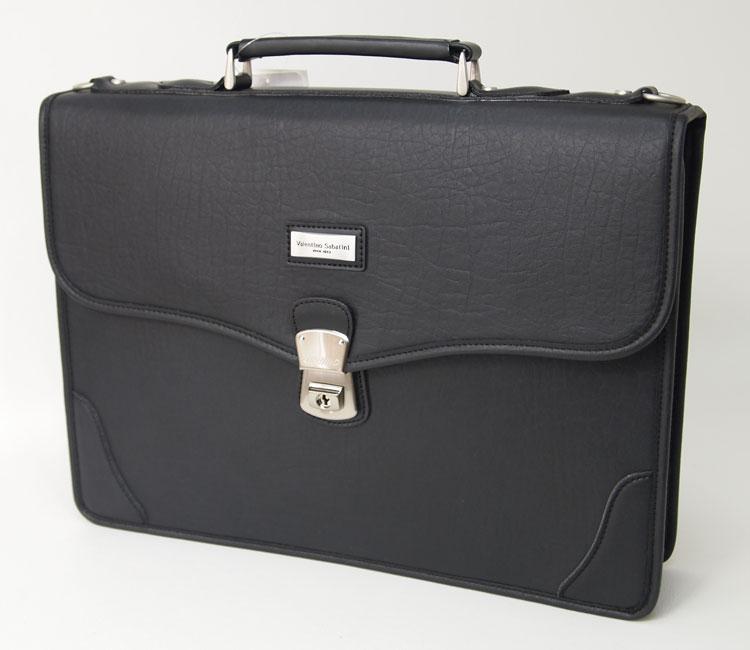 送料無料 ヴァレンチノ.サバティーニ ビジネスバッグ 取手付 39cm幅 メンズ 合成皮革 ショルダーベルト付 B4ファイル対応 ブラック【あす楽対応】