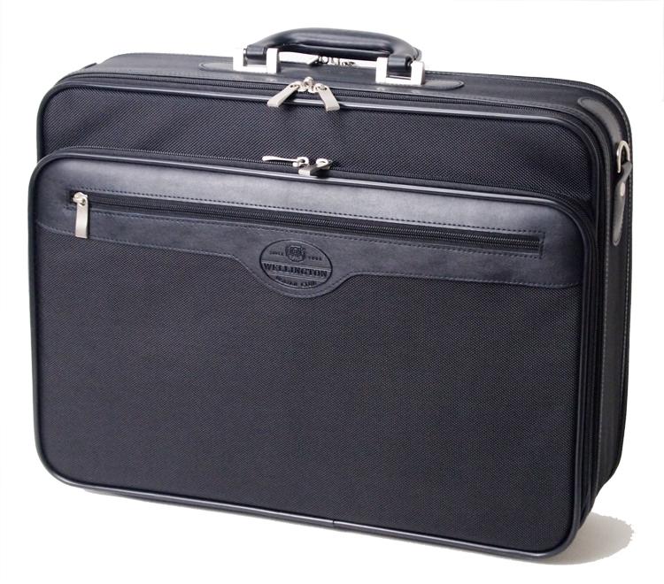 ウェリントン ソフトアタッシュケース ビジネスバッグ  A3 大きなアウトポケット付き メンズ 45cm 21218 フッ素樹脂 撥水加工 【あす楽対応】送料無料