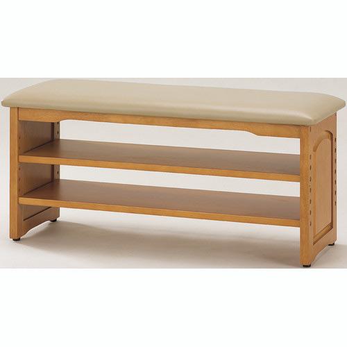【メーカー直送】木製 収納付き 玄関ベンチ ガタ付き防止付き アジャスター付 90cm幅 03520