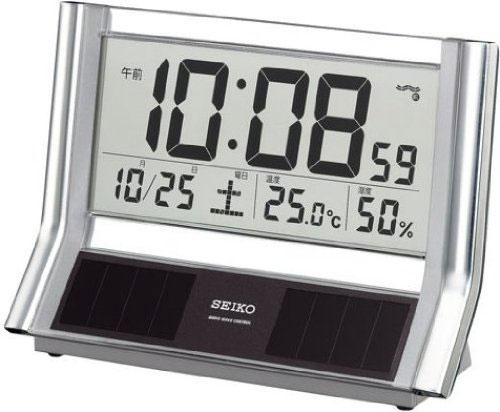 セイコー ハイブリッドソーラー デジタル 電波置き時計 温度表示 湿度表示 SQ690S【あす楽対応】