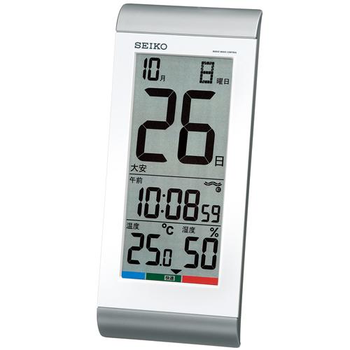 くっきり見やすい高コントラスト液晶 高精度の温度 湿度表示 発売モデル 送料無料 訳あり特価 セイコー 日めくりカレンダー時計 縦長24cm あす楽対応 電波時計 シルバー 掛け置き兼用 SQ431S デジタル時計 電子音アラーム 最大文字高53mm セール特別価格