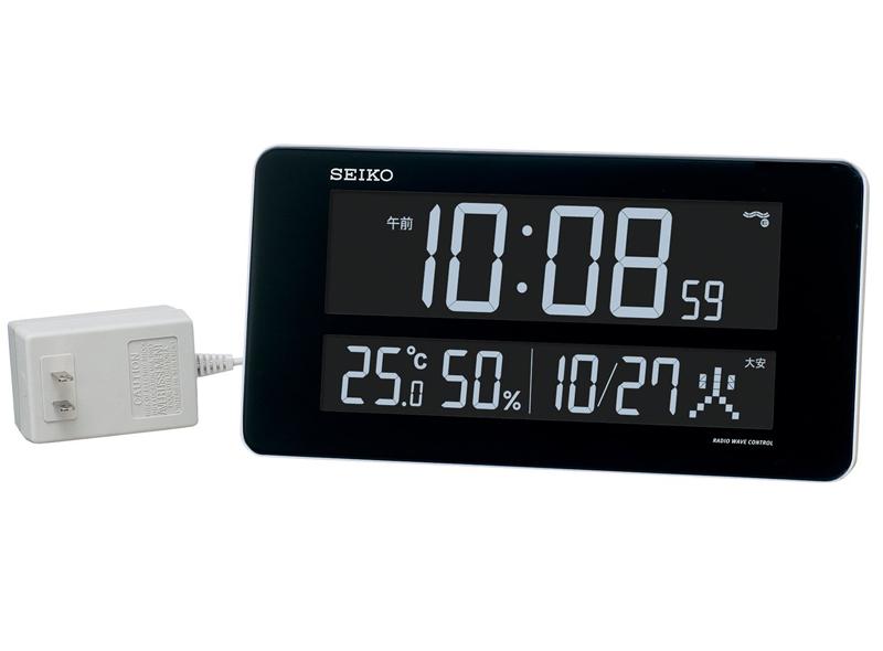 送料無料 セイコー 交流式カラーデジタル電波時計 掛置兼用 温湿度表示 カレンダー付!白 DL208W【動画あり】【あす楽対応】